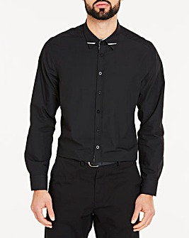 Black Trim Detail L/S Party Shirt