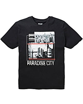 Paradise Black Short Sleeve Graphic T-Shirt Long