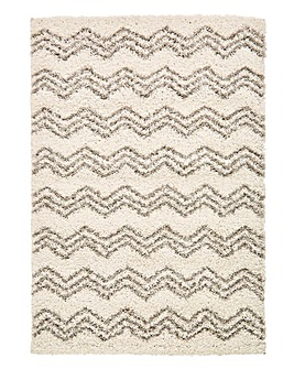 Luca Chevron Shaggy Rug Large