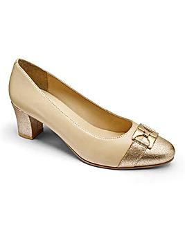 Heavenly Soles Trim Detail Leather Court Shoes Wide E Fit