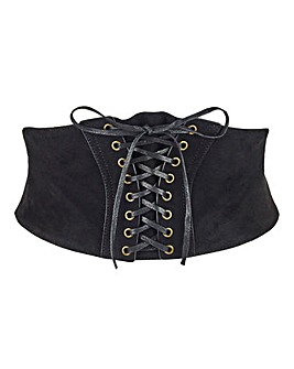 Faux Suede Studded Corset Belt