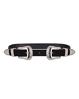 Double Buckle Western Waist Belt