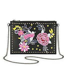 Embroidered and Stud Black Clutch Bag
