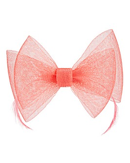 Coral Bow Clip Fascinator