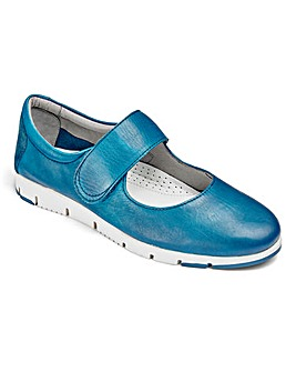 Heavenly Soles Leather Touch And Close Bar Shoes Wide E Fit