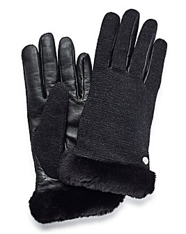 UGG Fabric and Leather Shorty Gloves