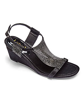 Lotus Shimmer Panel Sandals Wide E Fit