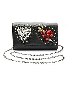 Beaded Heart Badge Clutch Bag