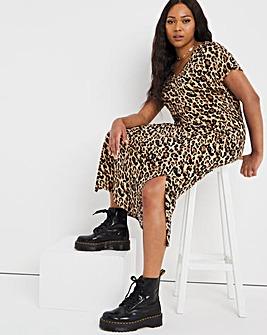 Leopard Print Midi T-Shirt Dress with Side Splits