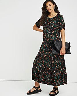 Ditsy Print Tiered Jersey T-Shirt Dress