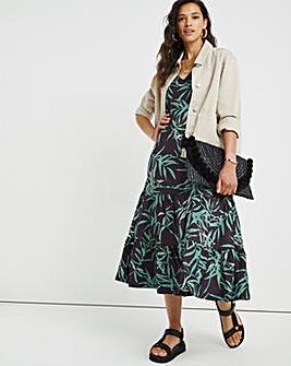 Bamboo Print V-Neck Jersey T-Shirt Dress