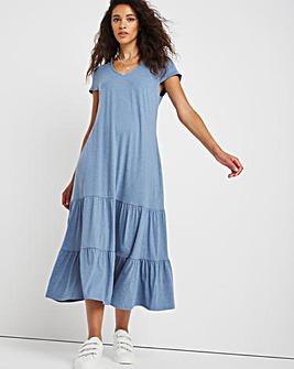 Washed Blue V-Neck Jersey T-Shirt Dress