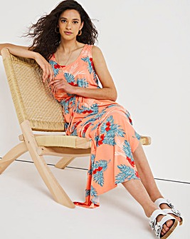 Coral Tropical Print Vest Maxi Dress