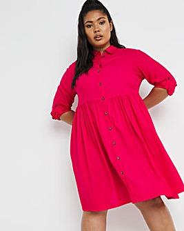 Pink Smock Shirt Dress