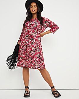 Pink Ditsy 3/4 Sleeve Swing Dress