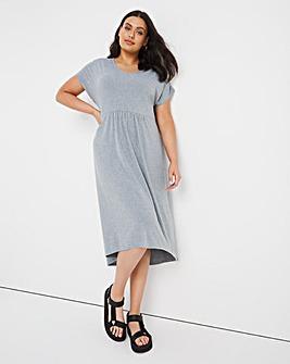 Grey Marl V-Neck Gathered T-Shirt Dress
