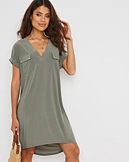 Washed Khaki Utility Jersey T-Shirt Dress