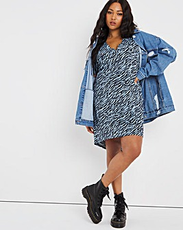 Washed Blue Zebra Utility Jersey T-Shirt Dress
