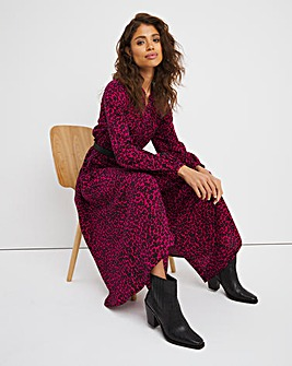 Pink Animal Button Front Maxi Dress