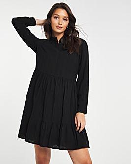 Black Check Tiered Midi Textured Smock Shirt Dress
