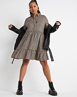 Stone Check Tiered Midi Smock Shirt Dress