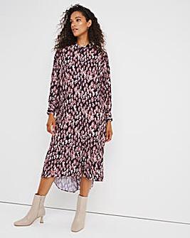 Animal Frill Hem Shirt Dress