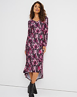 Pink Animal Dip Back Swing Dress with Pockets