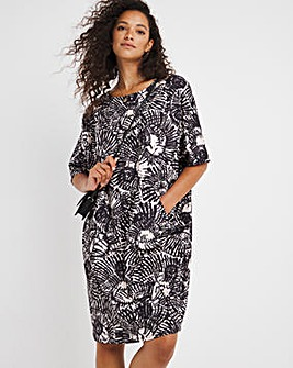 Abstract Print Soft Touch Cocoon Dress