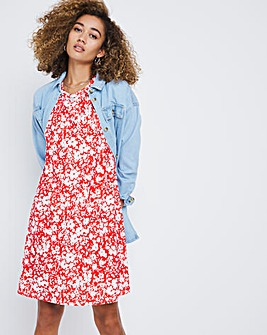 Short Sleeve Red Floral Print Swing Dress