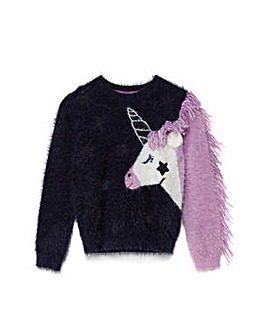 Yumi Girl Unicorn Intarsia Jumper