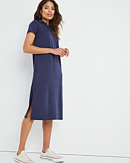 Navy Jersey Collar Dress with Side Splits