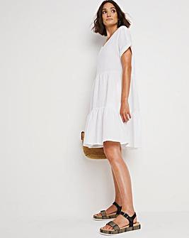 White V-Neck Linen Tiered Dress