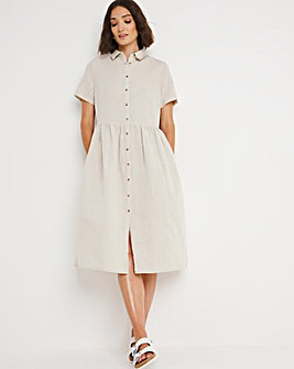 Stone Linen Smock Shirt Dress