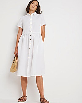 White Linen Smock Shirt Dress