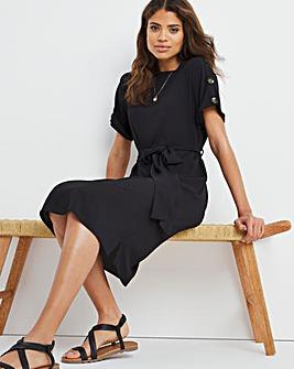 Black Button Shoulder Shift Dress with Tie Waist Belt