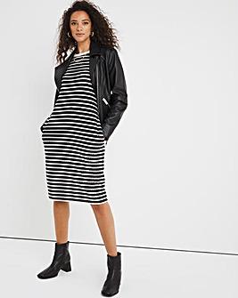 Black/White Stripe Jersey T-Shirt Dress