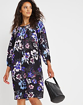 Bright Floral 3/4 Sleeve Chuck On Dress