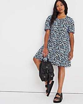 Blue Animal Puff Sleeve Swing Dress