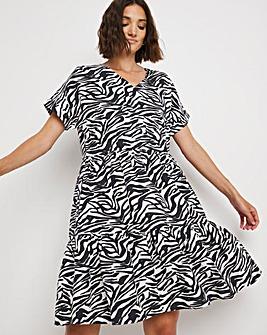 Blue Zebra V-Neck Linen Tiered Dress