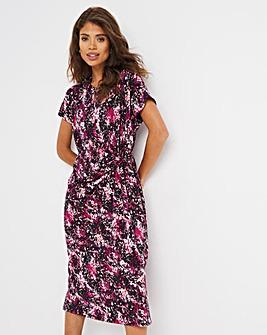 Pink Print Tie Knot Detail T-Shirt Dress