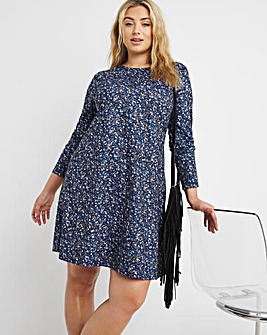 Blue Ditsy Floral Swing Dress