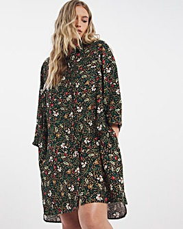 Floral Print Pocket Shirt Dress