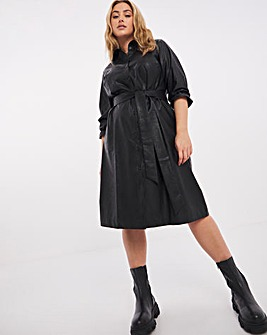 Black PU Tie Waist Midi Shirt Dress