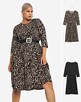 Absract Animal 2 Pack 3/4 Sleeve Midi Smock Dresses