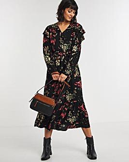 Dark Floral Ruffle Shoulder V-Neck Midi Dress