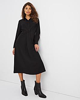 Black Twist Midi Shirt Dress