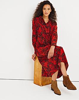 Paprika Animal Print Twist Midi Shirt Dress