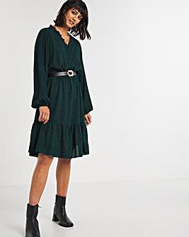 Green Glitter V-Neck Tiered Dress