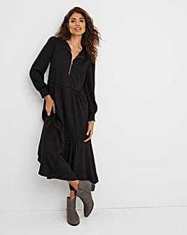 Black Zip Neck Tiered Midi Dress