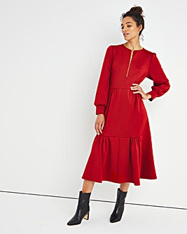 Paprika Zip Neck Tiered Midi Dress
